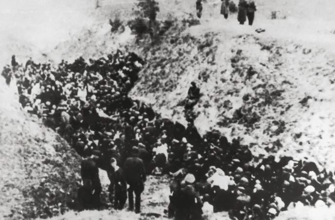 A large group of Polish Jews before execution in Belzec, circa 1941