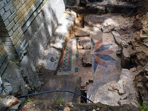 Hebrew inscription found in 2019 at the site of the Vilnius synagogue destroyed during the Holocaust