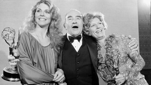 n this Sept.17, 1978, file photo, Lindsay Wagner, left, Ed Asner, center, and Nancy Marchand pose at the 30th annual Primetime Emmy Awards at the Pasadena Civic Auditorium, in Pasadena,