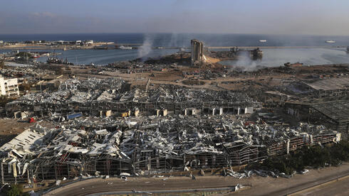 Aug. 5, 2020 file photo, shows the scene of an explosion that hit the seaport of Beirut, Lebanon