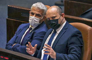 Naftali Bennett and Yair Lapid at the Knesset