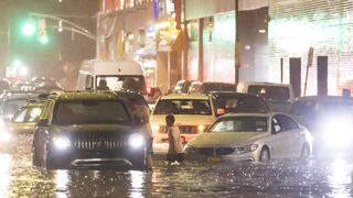 New York city streets under water from heavy rains