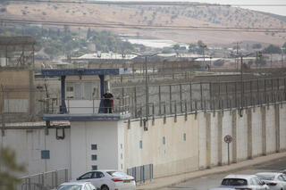 Guard overlooking Gilboa Prison after six Palestinian security prisoners escape