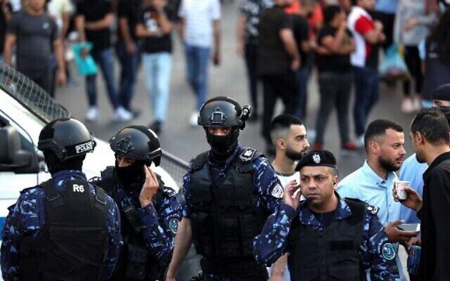 Palestinian police during demonstrations against the Palestinian Authority in June