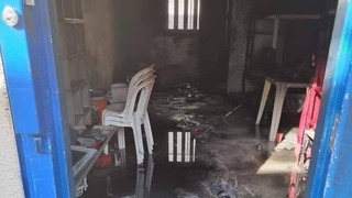 A scorched cell in the Palestinian Islamic Jihad section of Ketziot Prison in southern Israel