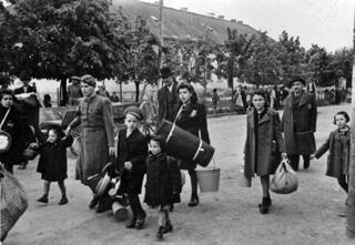 Jews being deported from Stropkov, Slovakia on May 23, 1942