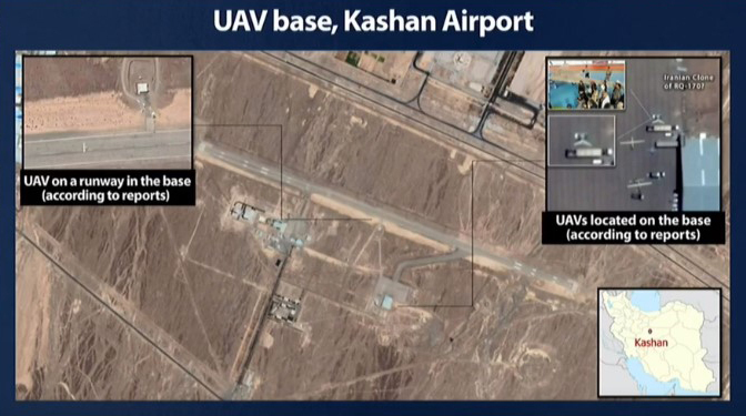Visuals of the Kashan airbase in Iran where Defense Minister Benny Gantz claimed Iranian proxies were trained in the use of drones