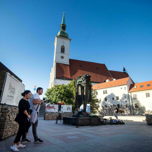 Bratislava's Holocaust Memorial stands close to St Martin's Cathedral on the site of a former synagogue