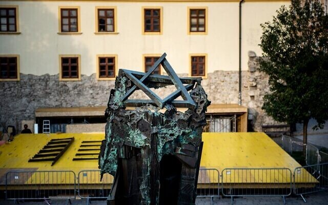 A Star of David on the Holocaust Memorial located in the center of Bratislava's Old Town
