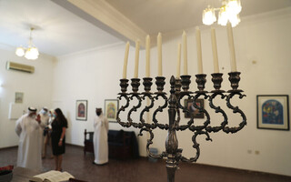 a menorah used during the Jewish holiday of Hanukkah, is seen during a visit by an Israeli delegation to the Jewish Community Synagogue of Bahrain, in Manama