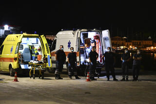Greek emergency services at the site of the plane crash near the island of Samos