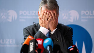 Herbert Reul, Interior Minister for the state of North Rhine-Westphalia, speaks to the media following the announcement by the state authorities that they have foiled a possible attack against the synagogue in the city of Hagen