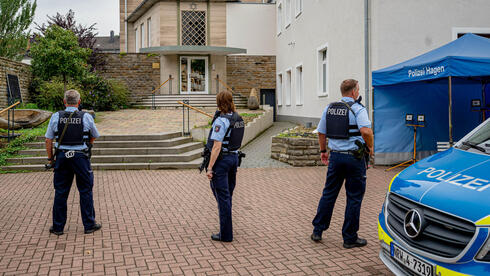 Police secures the area in front of the synagogue in Hagen, western Germany on September 16, 2021