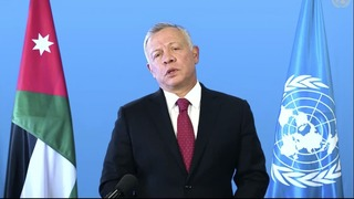 Jordanian King Abdullah II remotely addresses the 76th session of the United Nations General Assembly in a pre-recorded message, September 22, 2021, at UN headquarters in New York