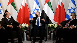 Prime Minister Naftali Bennett meets Bahrain Foreign Minister (L) and UAE Minister of State Khalifa Shaheen Almarar (R) in New York ahead of his address to the UN General Assembly