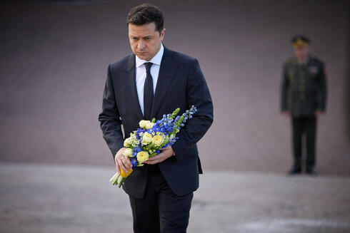 Ukrainian President Volodymyr Zelenskiy takes part in a commemoration ceremony for the victims of Babyn Yar (Babiy Yar), one of the biggest single massacres of Jews during the Nazi Holocaust, in Kyiv Ukraine