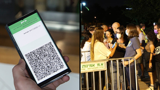 The Green Pass; Israelis line up outside a pop-up COVID-19 vaccination hub in Tel Aviv ahead of the new Green Pass coming into effect