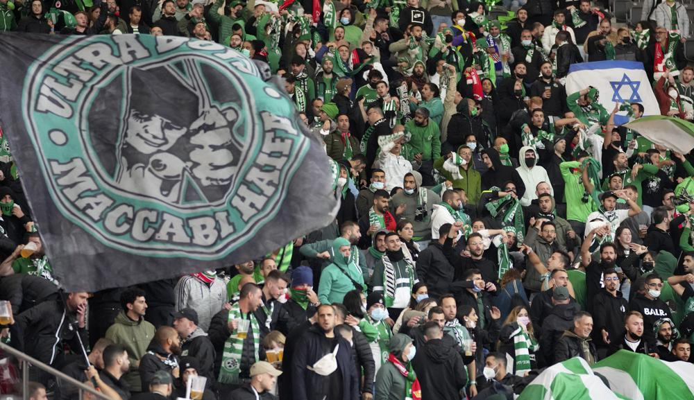 Supporters of Haifa attend a group E Europa Conference League soccer match between 1. FC Union Berlin and Maccabi Haifa FC in Berlin