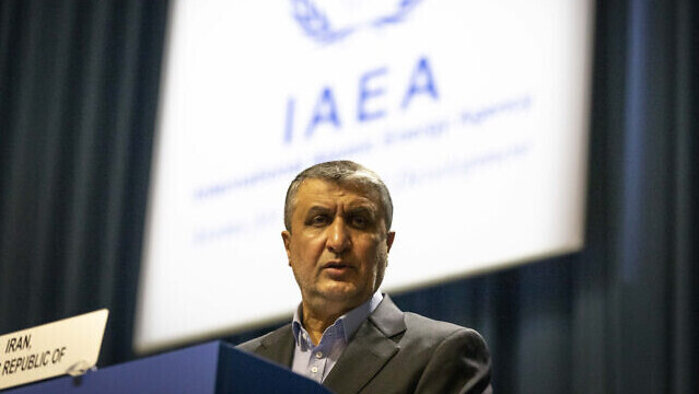 Mohammad Eslami, new head of Iran's nuclear agency (AEOI) talks on stage at the International Atomic Energy's (IAEA) General Conference in Vienna, Austria, September 20, 2021
