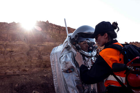 A scientist participates in a demonstration of an experiment led by Austrian and Israeli agencies simulating a mission to Mars near Mitzpe Ramon, Israel October 10, 2021