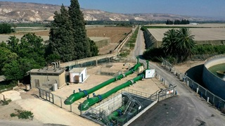 Pipe system used to transfer water from Israel to Jordan, near the border and south of the Sea of Galilee, July 2021