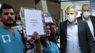 The head of the intern's protests with Health minister Nitzan Horowitz, October 20