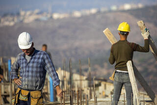 new houses in the West Bank Jewish settlement of Bruchin near the Palestinian town of Nablus,