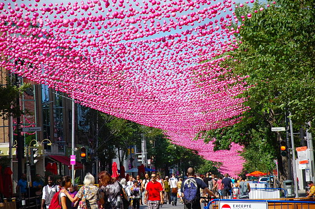 http://commons.wikimedia.org/wiki/File:Pink_Balls_Montreal.jpg